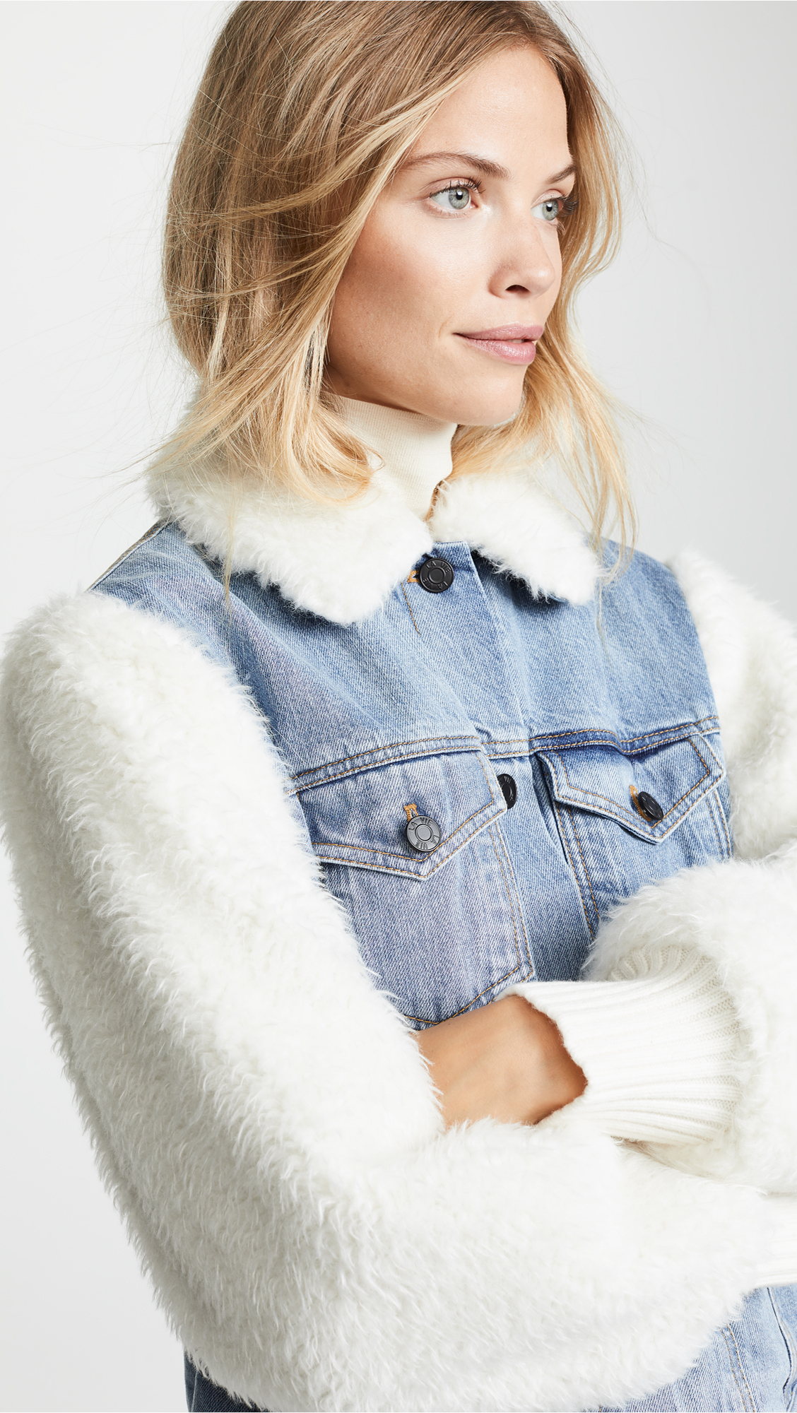 850b739c55a22 La Vie Rebecca Taylor Classic Denim   Faux Fur Jacket