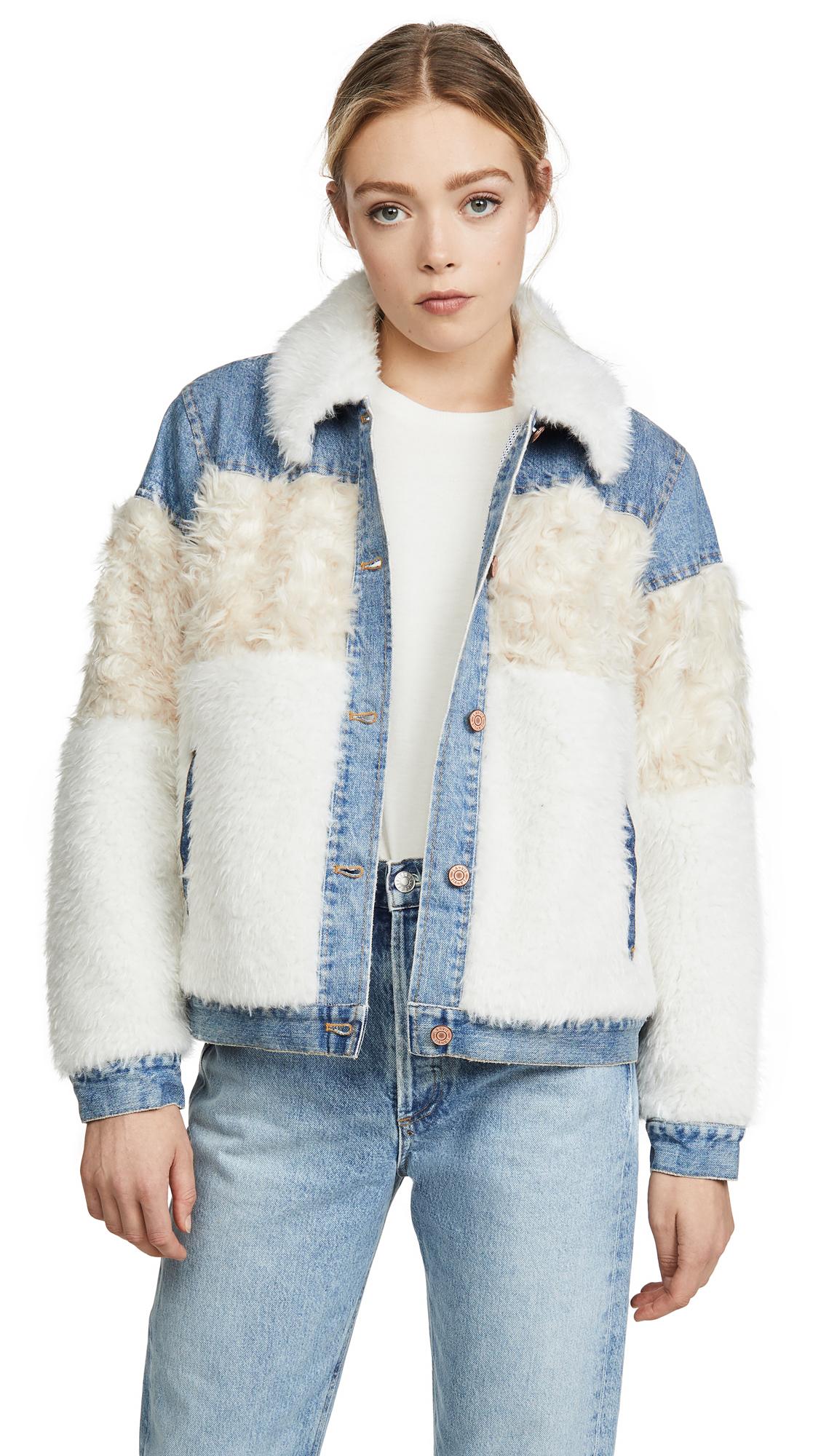Buy La Vie Rebecca Taylor online - photo of La Vie Rebecca Taylor Fur & Denim Jacket