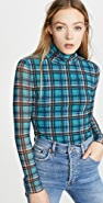 La Vie Rebecca Taylor Long Sleeve Plaid Mesh Jersey Top
