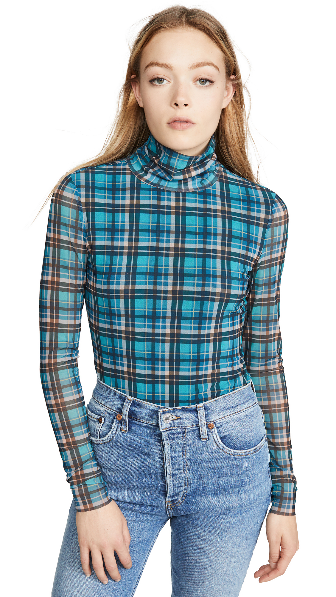 Buy La Vie Rebecca Taylor online - photo of La Vie Rebecca Taylor Long Sleeve Plaid Mesh Jersey Top