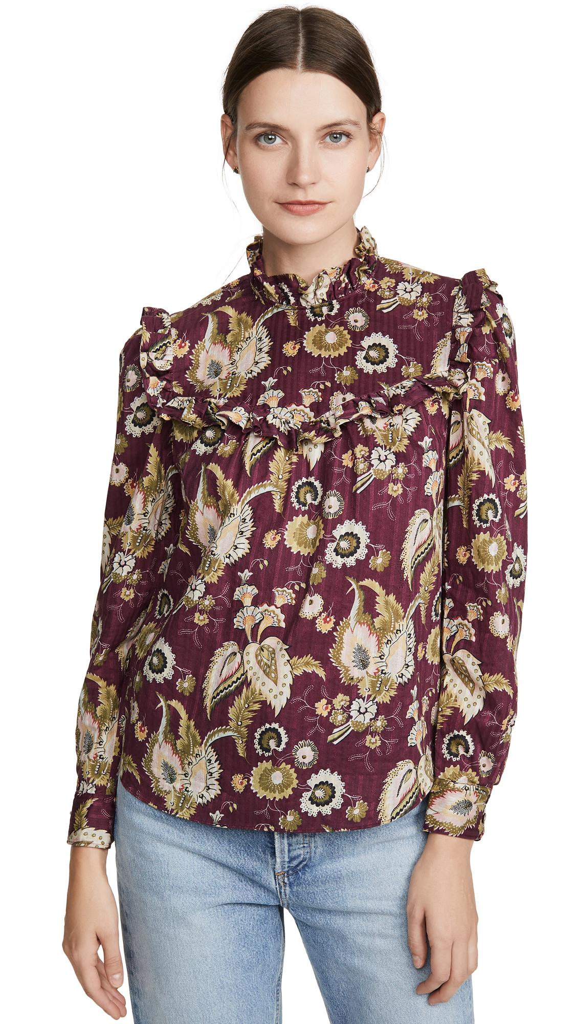 Buy La Vie Rebecca Taylor online - photo of La Vie Rebecca Taylor Long Sleeve Suzani Ruffle Top