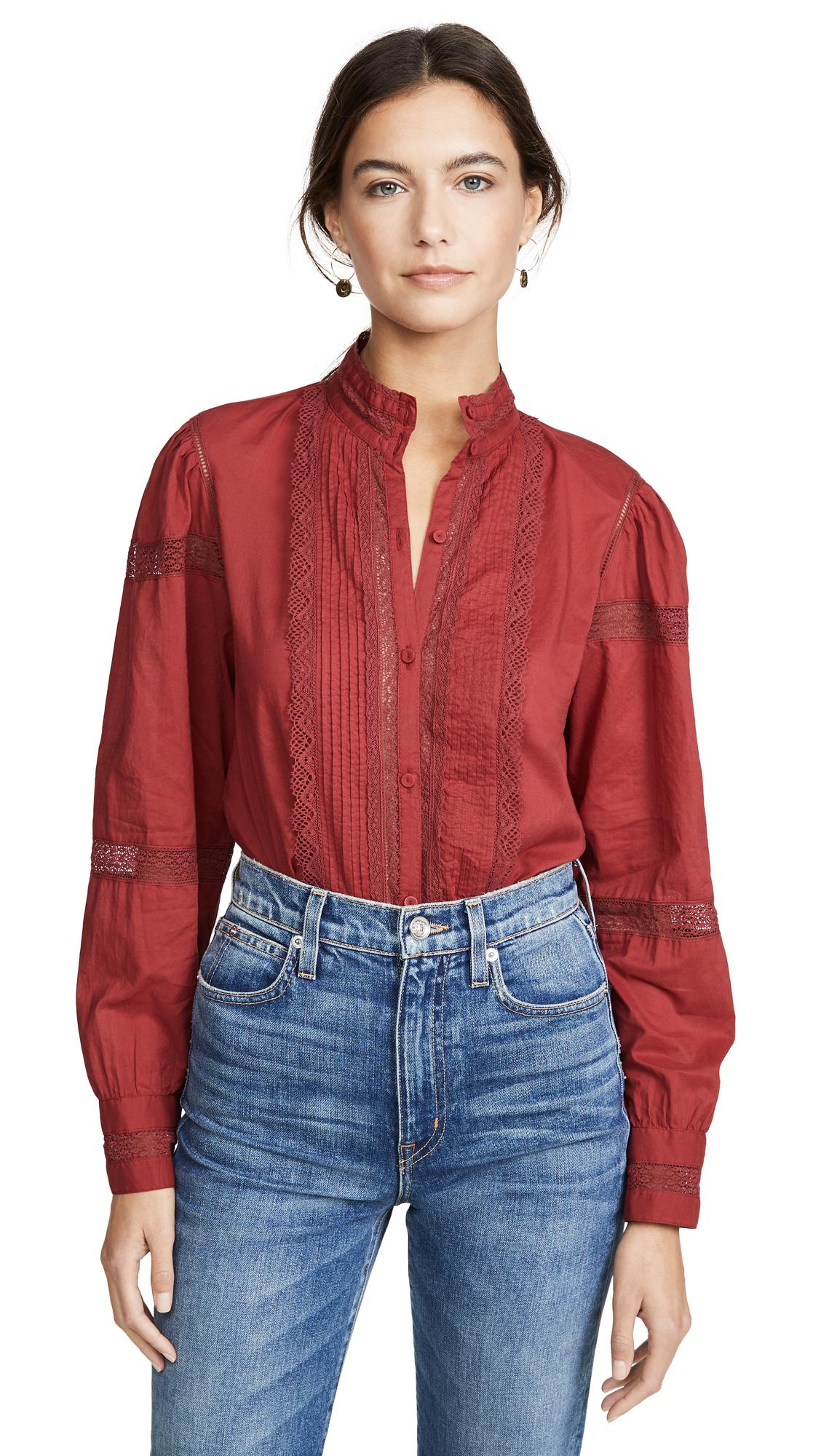 La Vie Rebecca Taylor Long Sleeve Voile Lace Top - 40% Off Sale