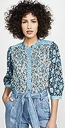 La Vie Rebecca Taylor Long Sleeve Print Mix Top