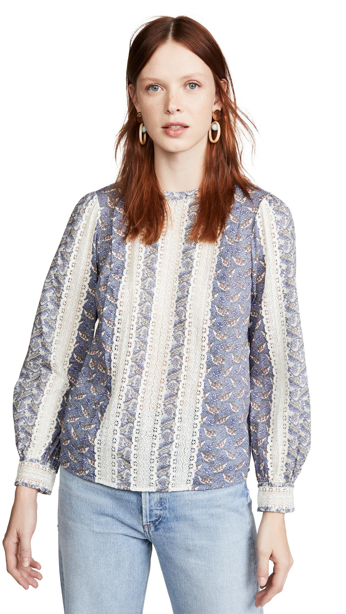 La Vie Rebecca Taylor Long Sleeve Woodblock Lace Top - 50% Off Sale