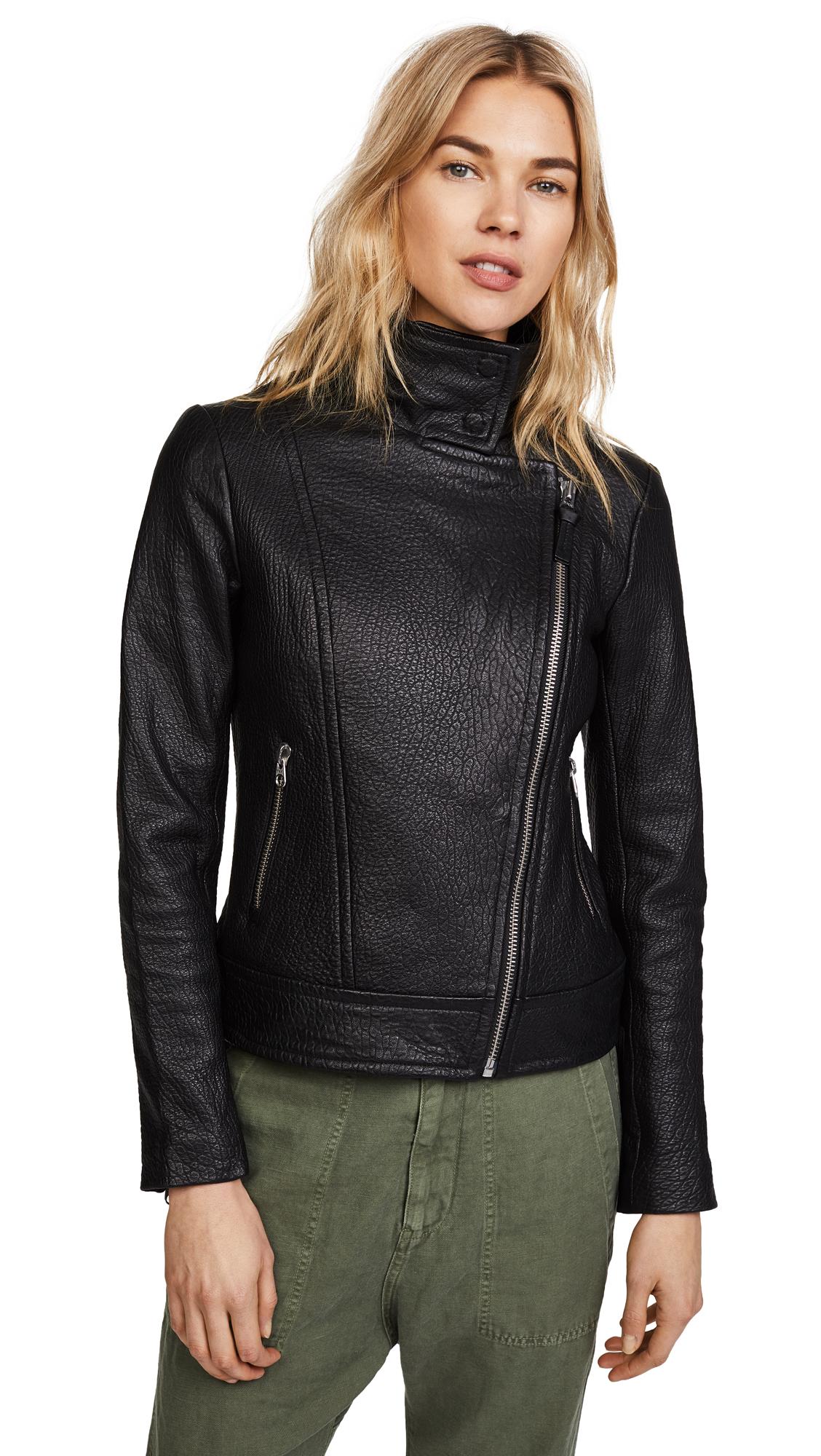 Mackage Lisa Pebbled Leather Jacket - Black