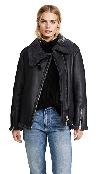 Mackage Minna Shearling Jacket In Slate