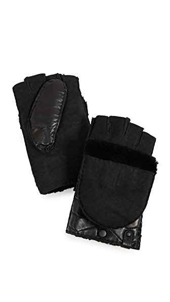 Mackage Chukka Leather Pop-Top Mittens In Black