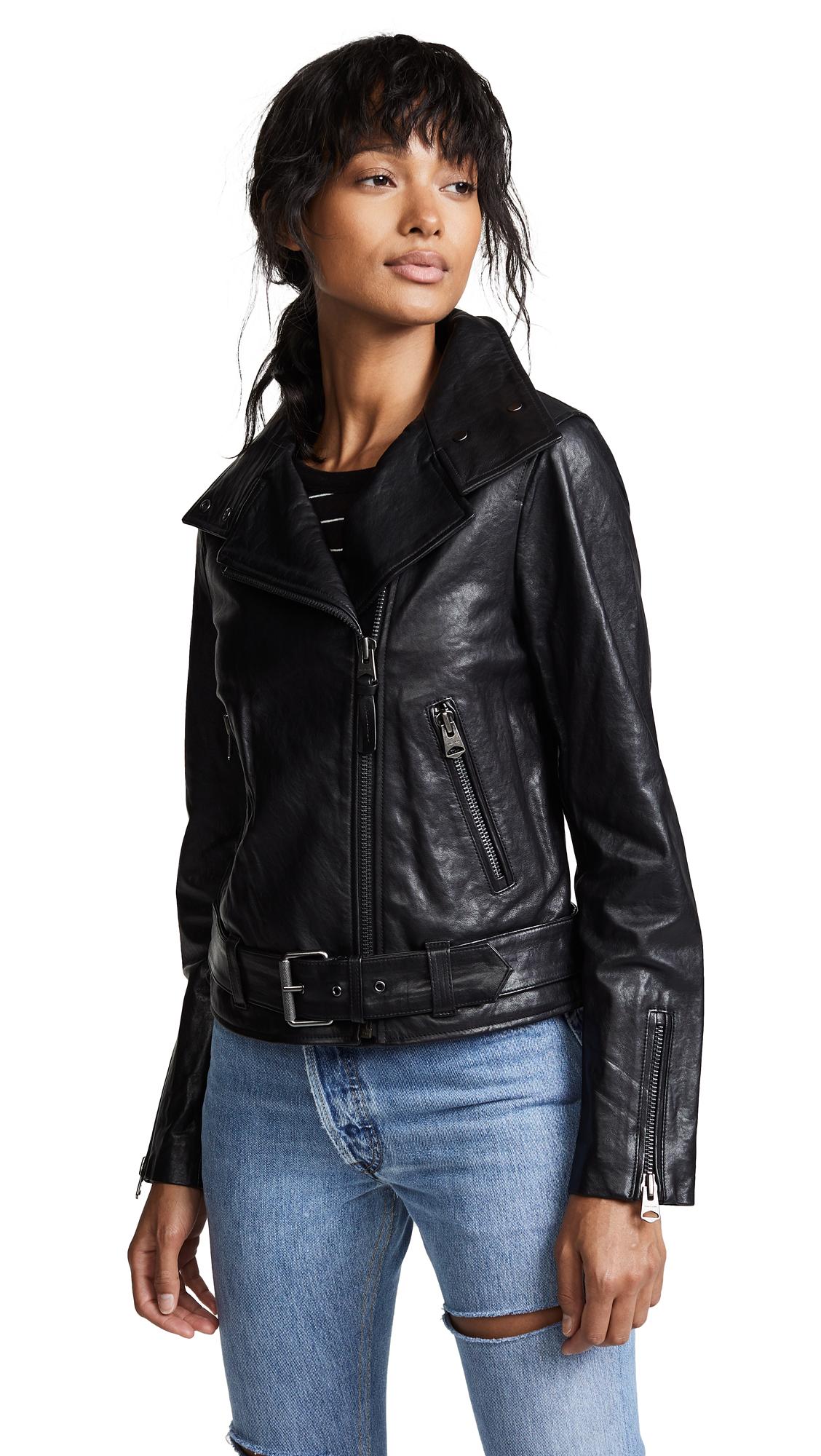 Mackage Emily Leather Moto Jacket In Black