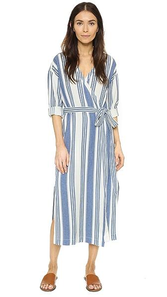 Madewell Wrap Midi Dress - Ivory/Blue Stripe
