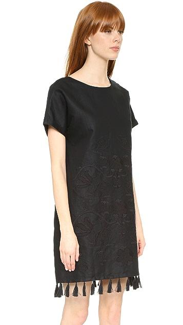 Madewell Embroidered Tassel Tee Dress