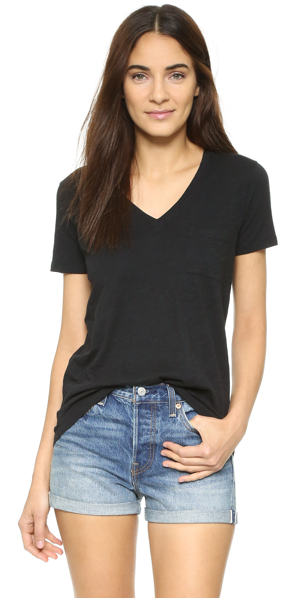 Whisper Cotton V Neck Pocket Tee Madewell