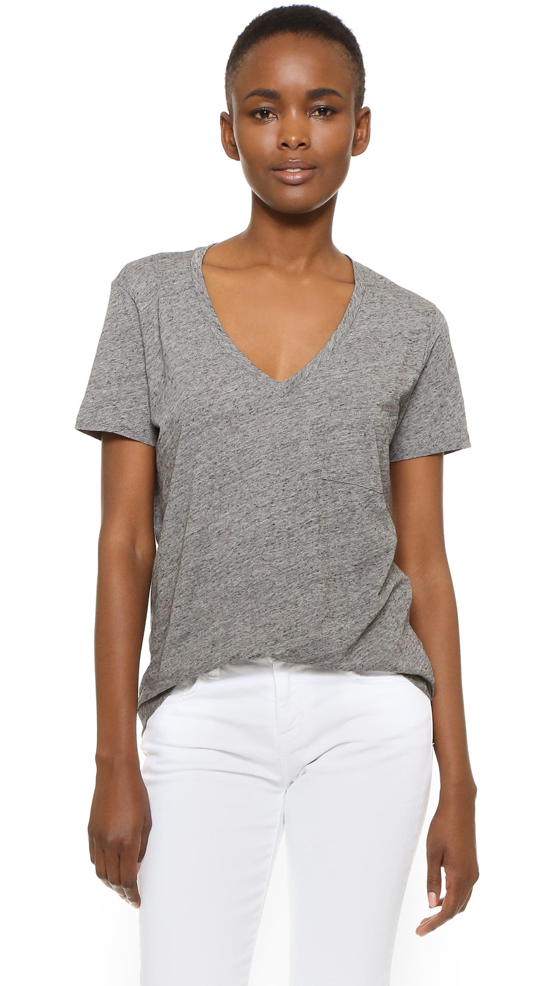 Madewell Whisper Cotton V Neck Pocket Tee - Heather Pewter