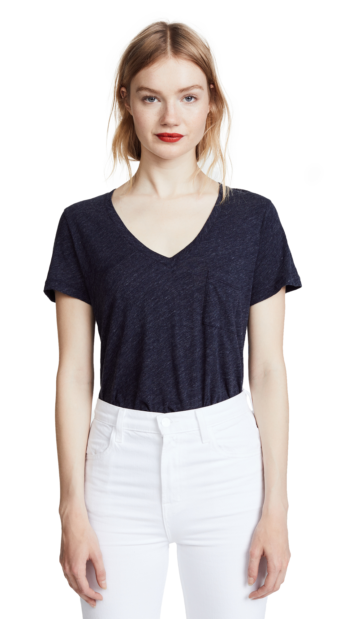Madewell Whisper Cotton V Neck Pocket Tee - Heather Indigo