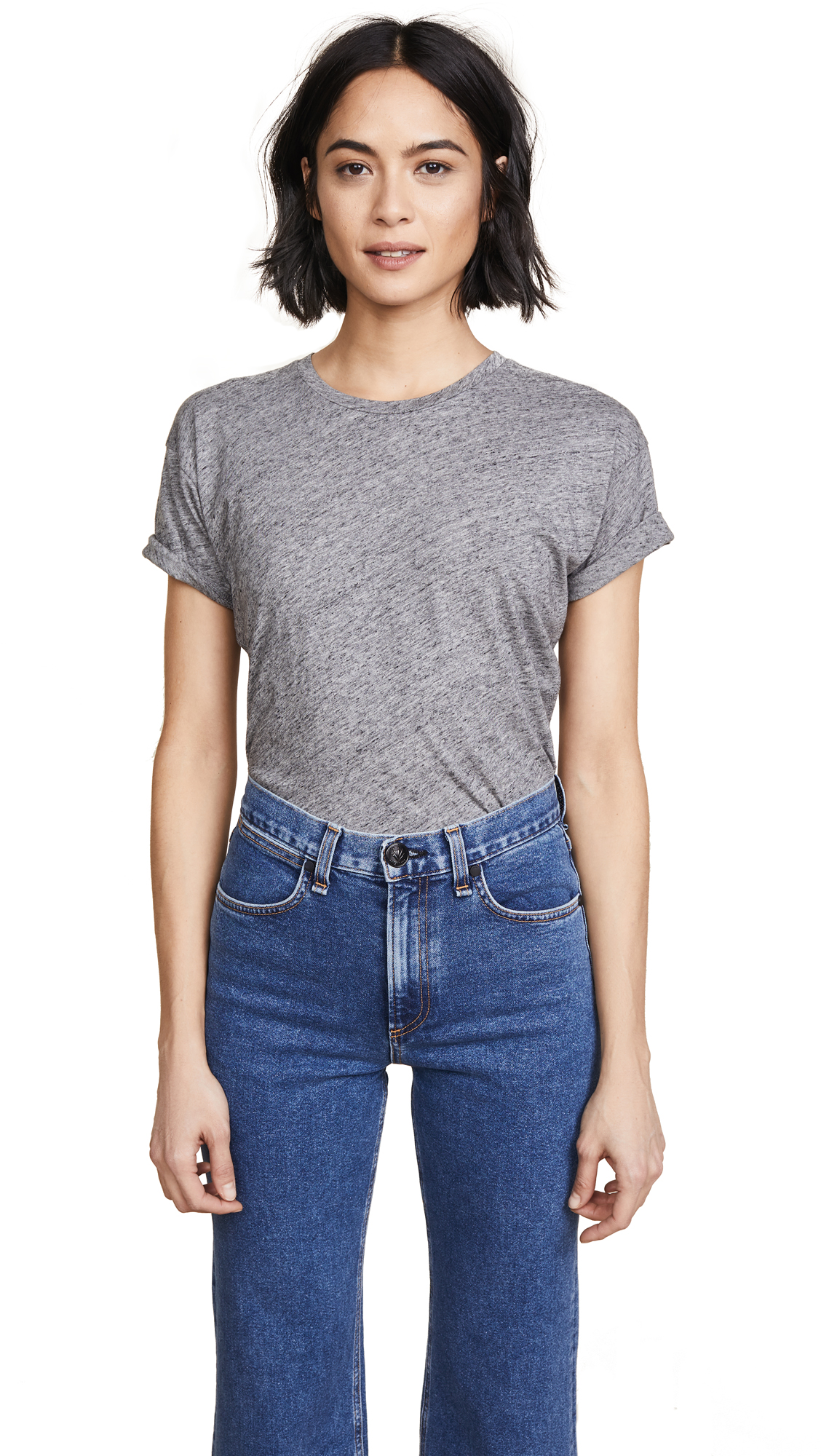 Madewell Whisper Cotton Crew Tee - Heather Pewter