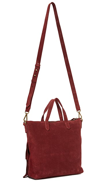 Madewell Suede Mini Fringe Transport Tote