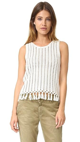 Madewell Cropped Crochet Fringe Vest