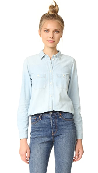 Madewell Slim Ex-Boyfriend Shirt in Chambray - Halstead Wash
