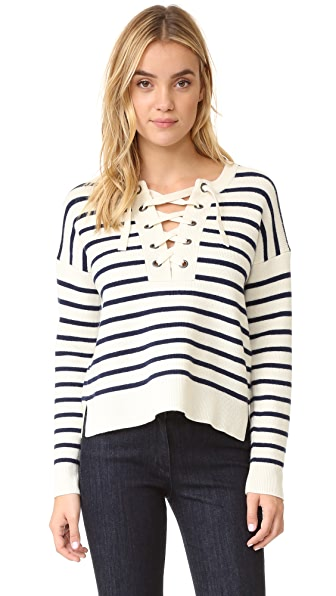 Madewell Striped Lace Up Pullover Sweater - Antique Cream