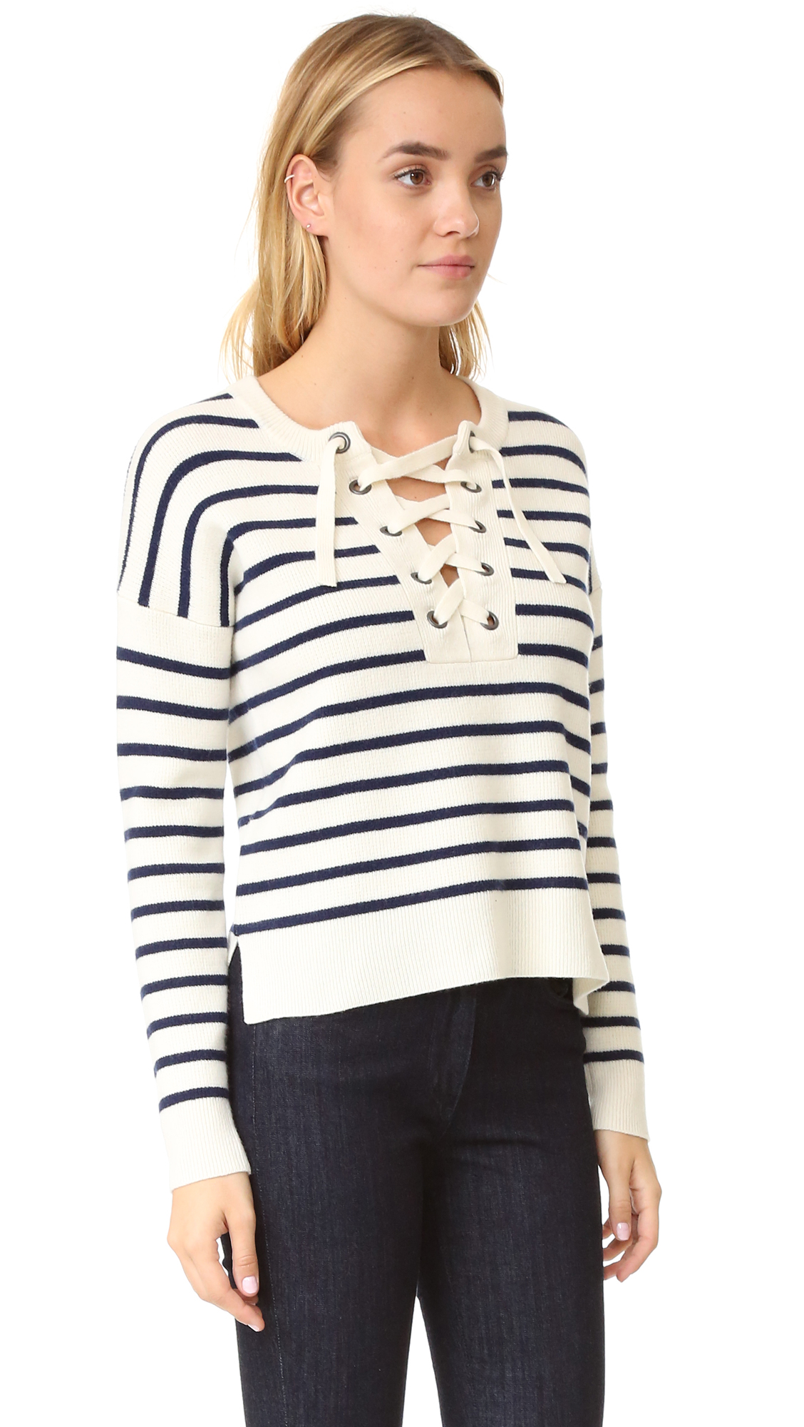 Madewell Striped Lace Up Pullover Sweater | SHOPBOP
