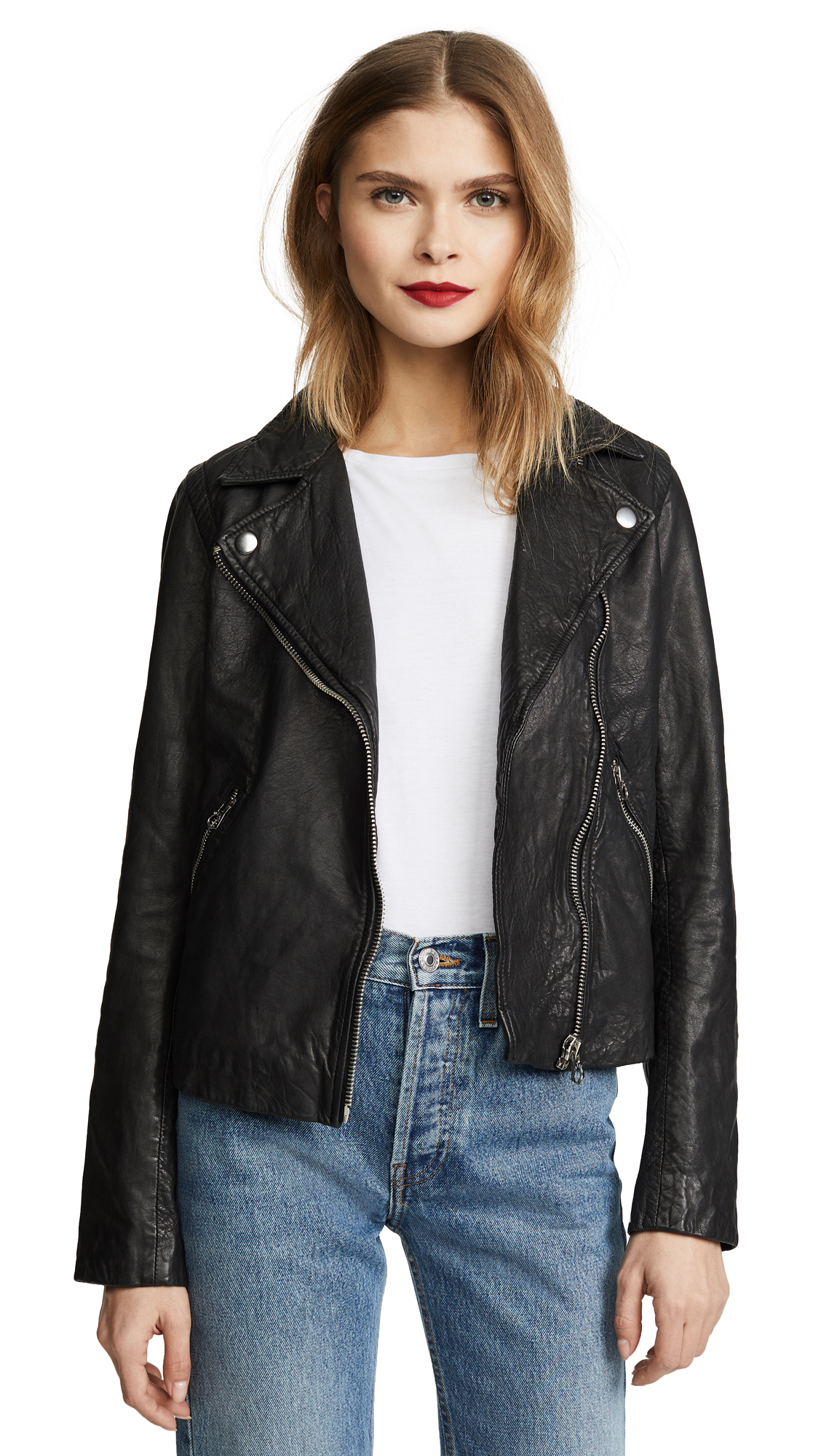 Madewell Washed Leather Motorcycle Jacket In True Black