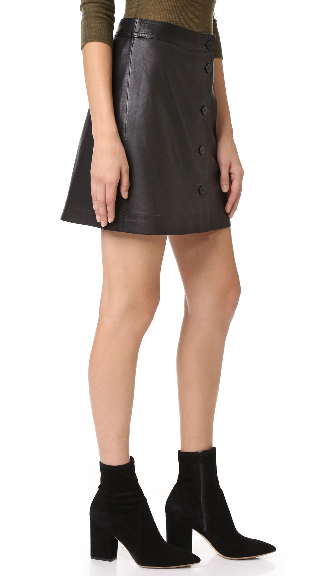247edc62fe Madewell Button Front Leather Skirt | SHOPBOP