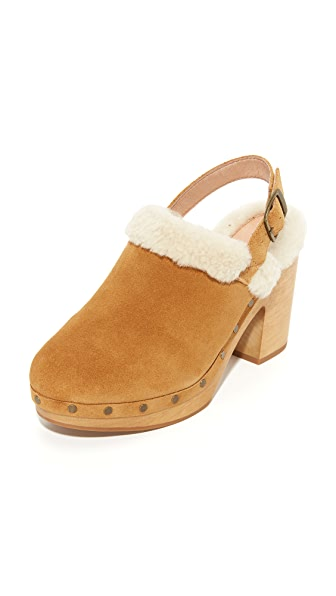 Madewell Marlin Fur Slingback Clogs - Timber Beam