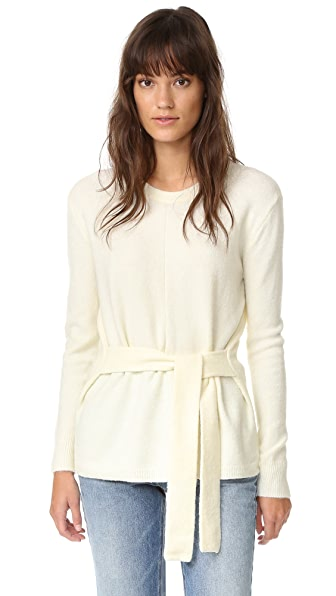 Madewell Tie Front Wrap Sweater - Bright Ivory
