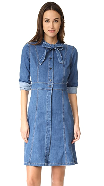 Madewell Denim Tie Neck Dress - Denim Wash