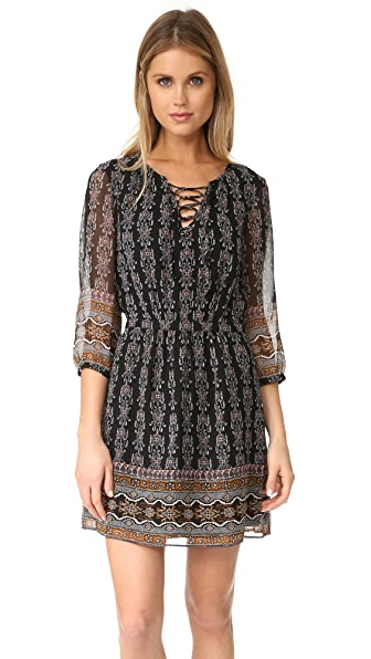 Madewell Lace Up Border Dress - Classic Black