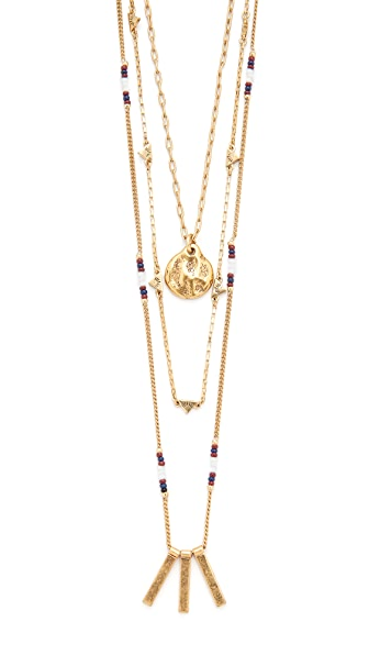 Madewell Layered Triangle & Bead Necklace Set