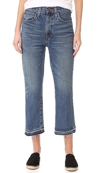 Madewell Свободные укороченные расклешенные джинсы с необработанным низом