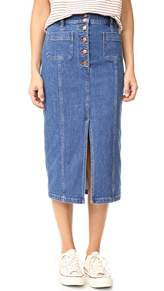 Madewell High Slit Jean Skirt
