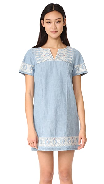Madewell Embroidered Chambray Tunic Dress - Pina Wash