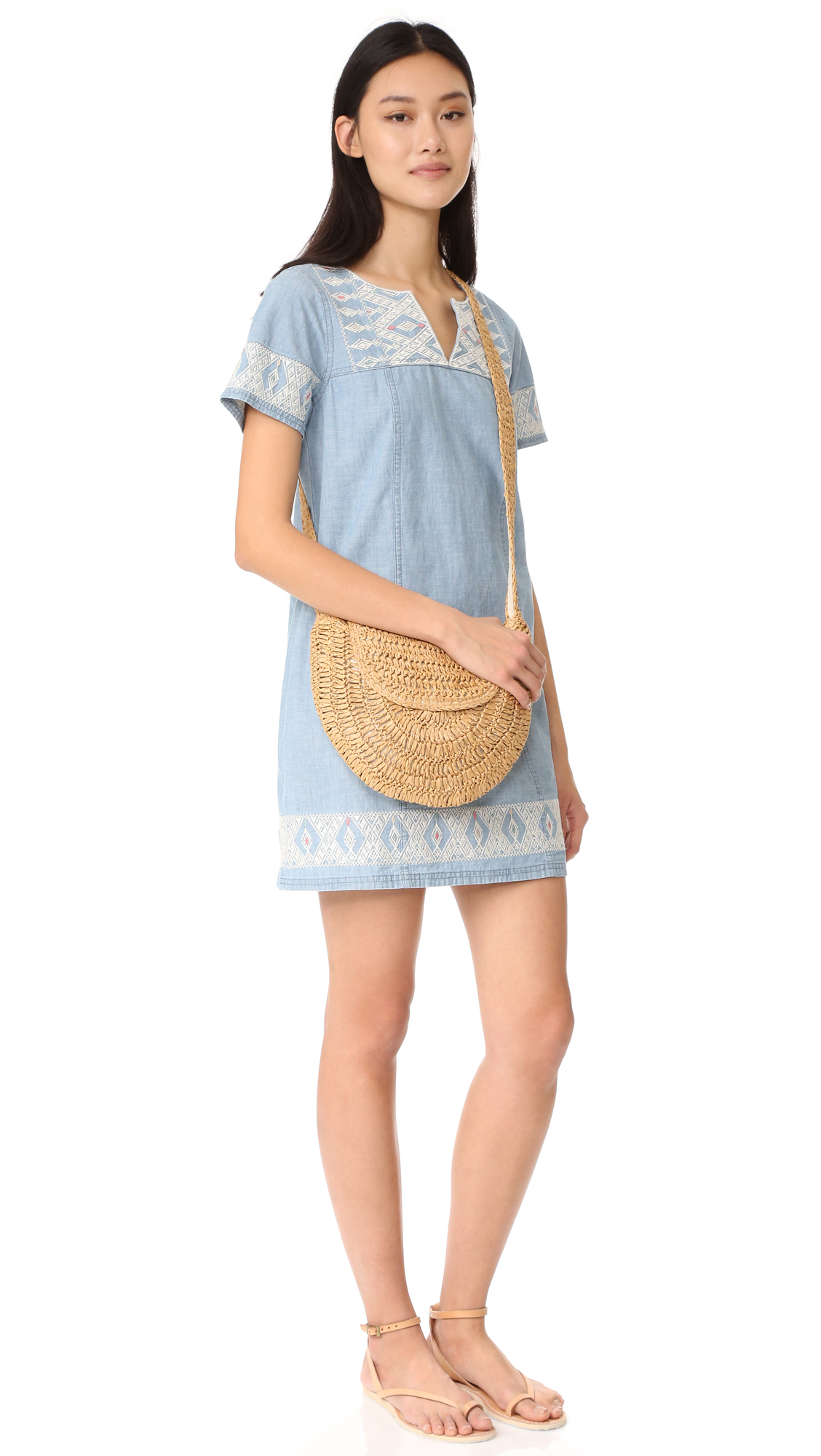 e4d61a21653d86 Madewell Embroidered Chambray Tunic Dress | SHOPBOP