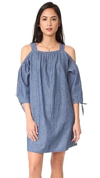 Фото Madewell Платье из ткани шамбре с открытыми плечами. Купить с доставкой