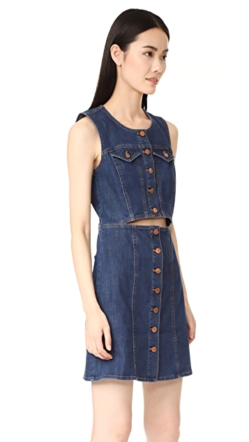 Madewell Denim Button Front Cutout Dress