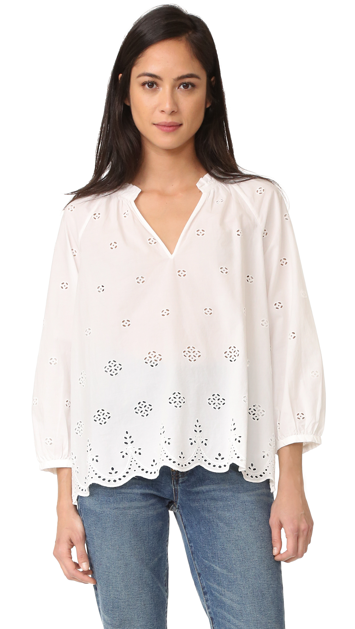 Madewell Eyelet Blouse With Scallop Hem Shopbop