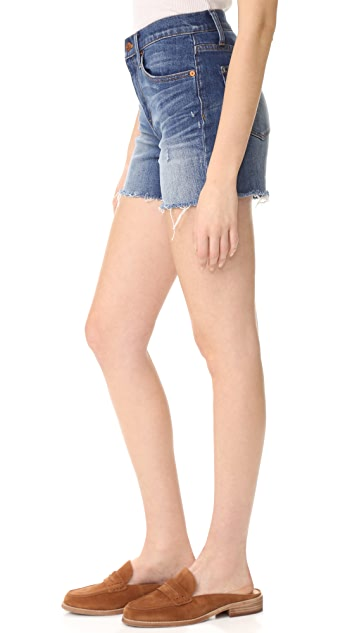 Madewell High Rise Denim Boy Shorts in Glen Oaks