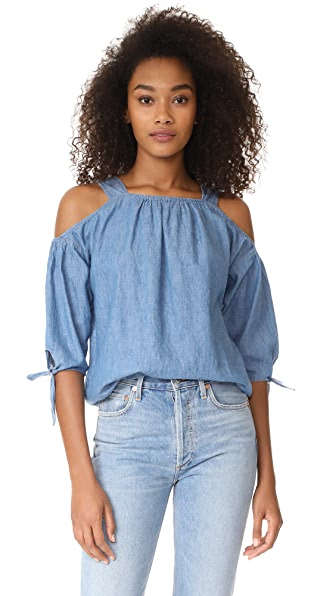 Madewell Cold Shoulder Top With Tie Sleeves - Denise Wash