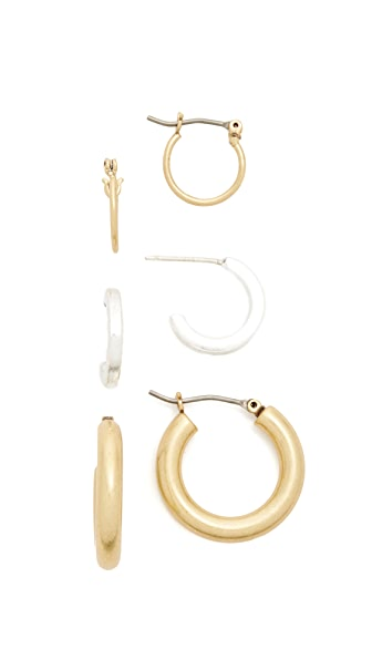 Madewell Multi Hoop Earring Pack In Light Gold Ox