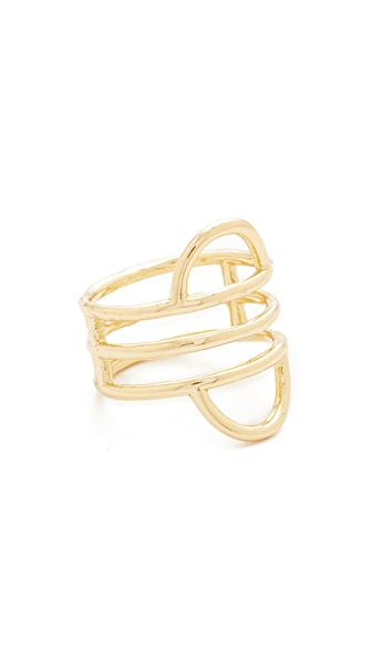 Madewell Double Arc Fixed Stack Ring - Shiny Brass