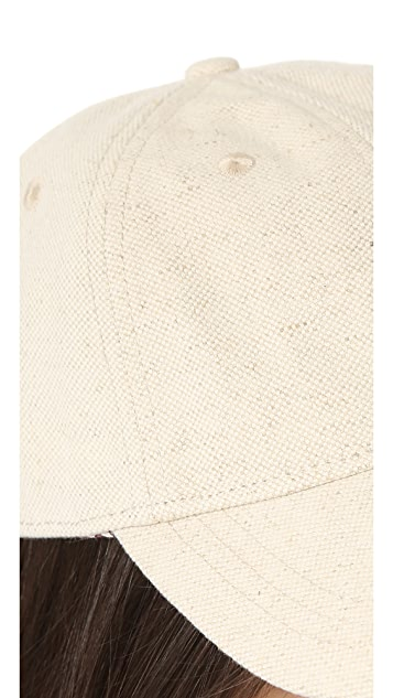 Madewell Linen Baseball Hat with Leather Trim