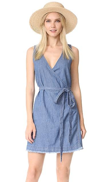 Madewell Denim Raw Hem Wrap Dress