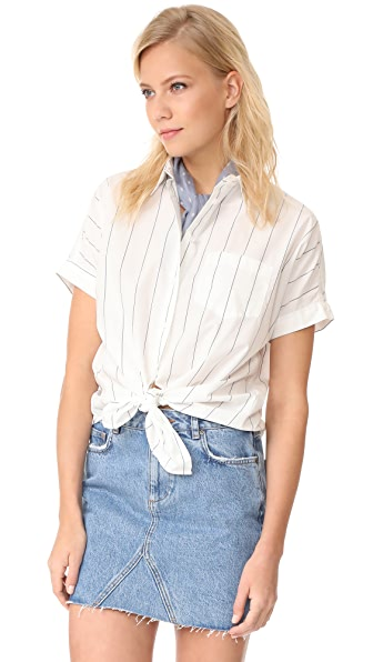 Madewell Short Sleeve Tie Front Shirt - Lighthouse