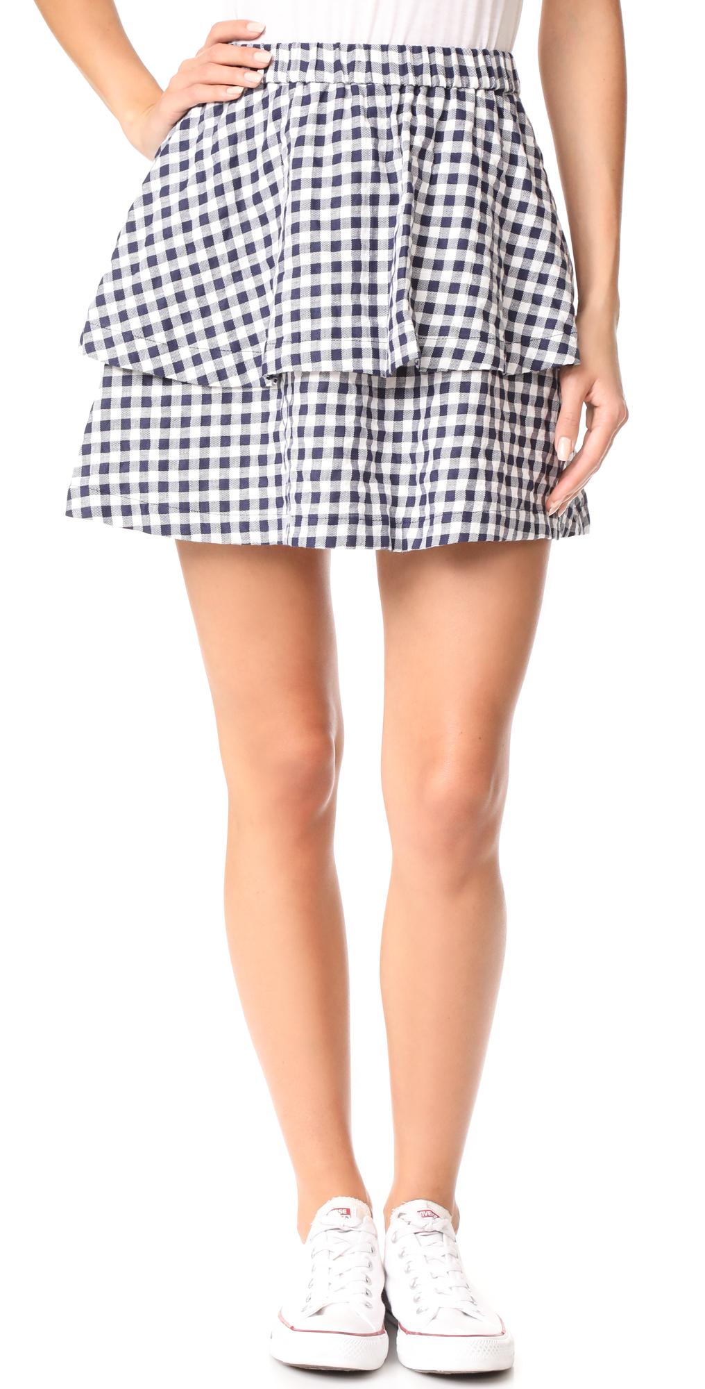 Gingham Tier Miniskirt Madewell