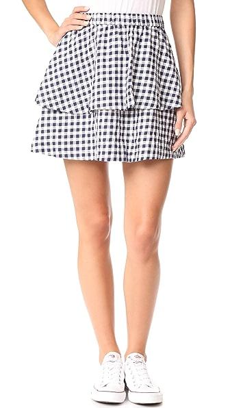 Madewell Gingham Tier Miniskirt