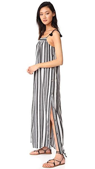 Madewell Striped Side Button Maxi Dress - True Black