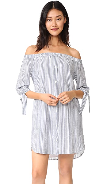 Madewell Striped Off Shoulder Shirtdress - Dark Chambray
