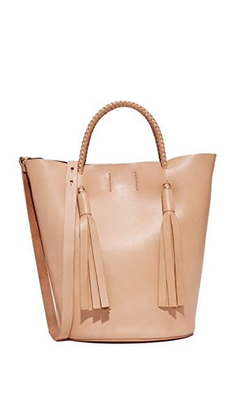 Madewell Tassel Bucket Tote - Natural Buff