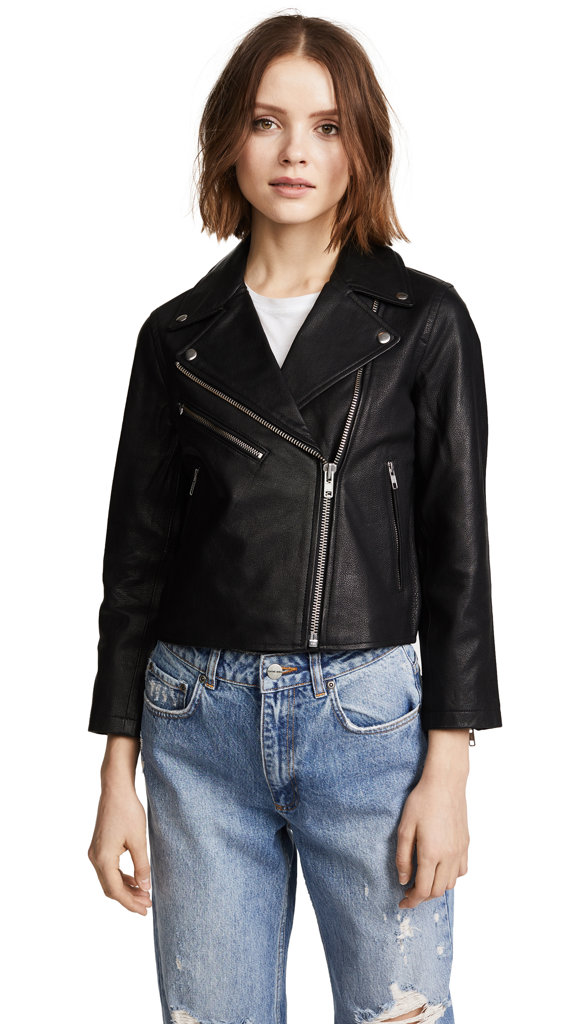 Madewell Cropped Leather Jacket - Black